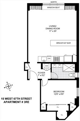 New York City Real Estate | View 15 West 67th Street, #3RE | Floorplan