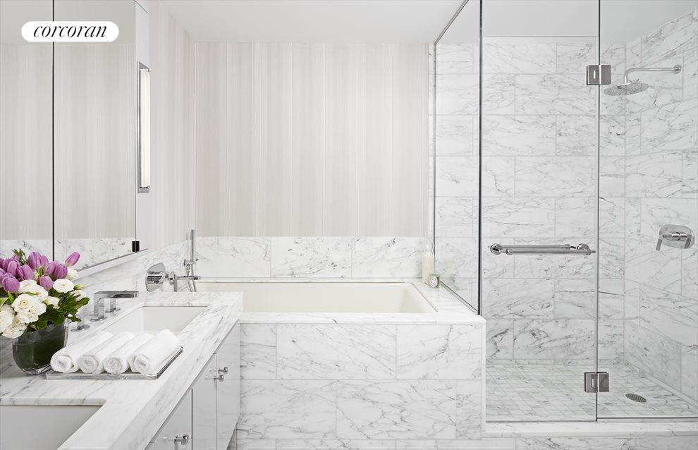 5-fixture Calacatta marble bath