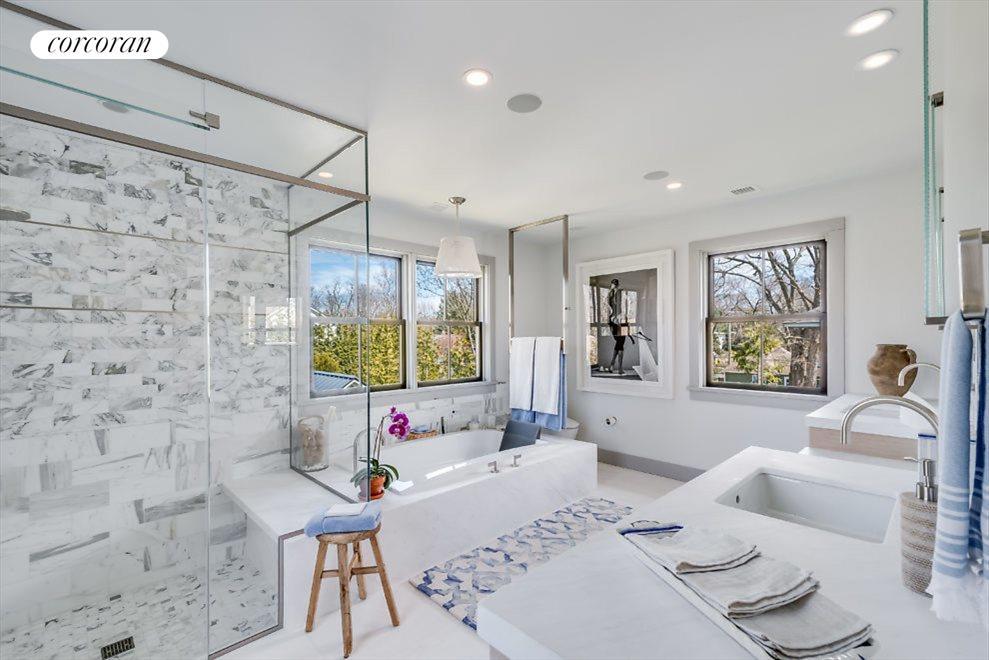 Spa-like master bath with soaking tub and radiant heat floors