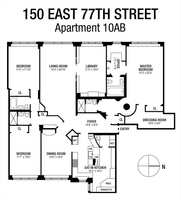 New York City Real Estate | View 150 East 77th Street, #10AB | Floorplan