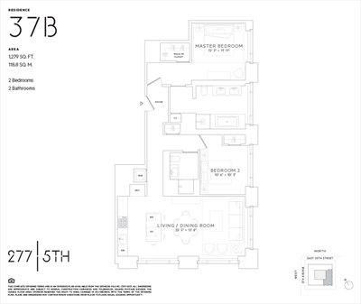 New York City Real Estate | View 277 Fifth Avenue, #37B | Floorplan