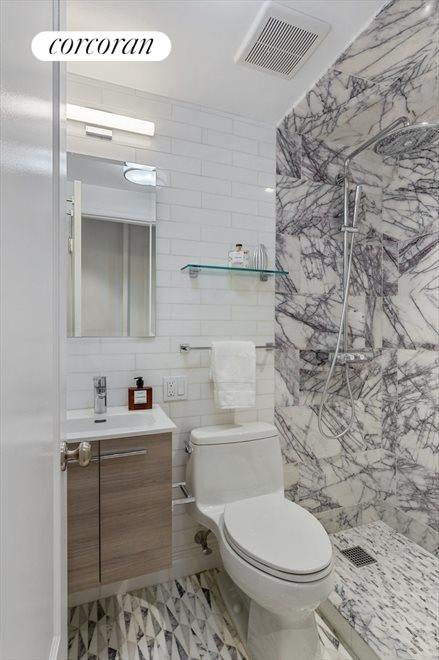 Newly renovated marble bathroom