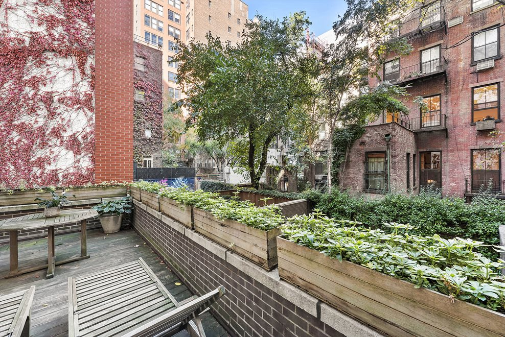 New York City Real Estate | View 137 East 15th Street, #1B | Terrace with Townhouse Garden Views