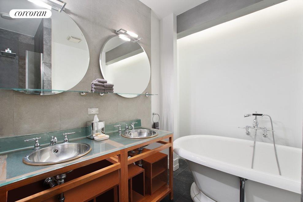 Double sinks in master bathroom