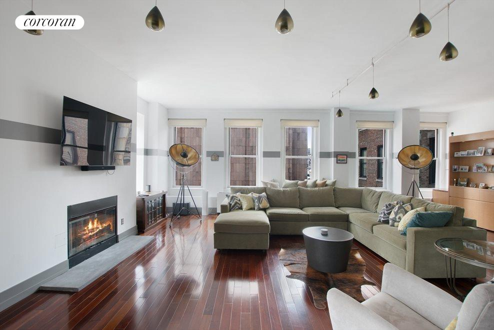 Spacious living room with gas burning fireplace