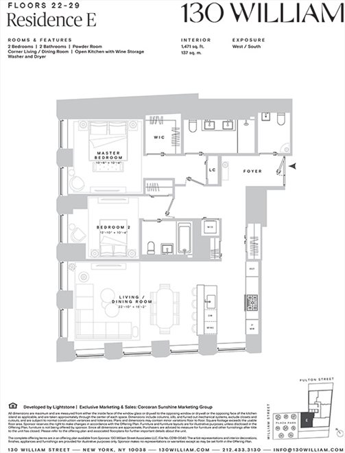 New York City Real Estate | View 130 WILLIAM ST, #26E | Floorplan