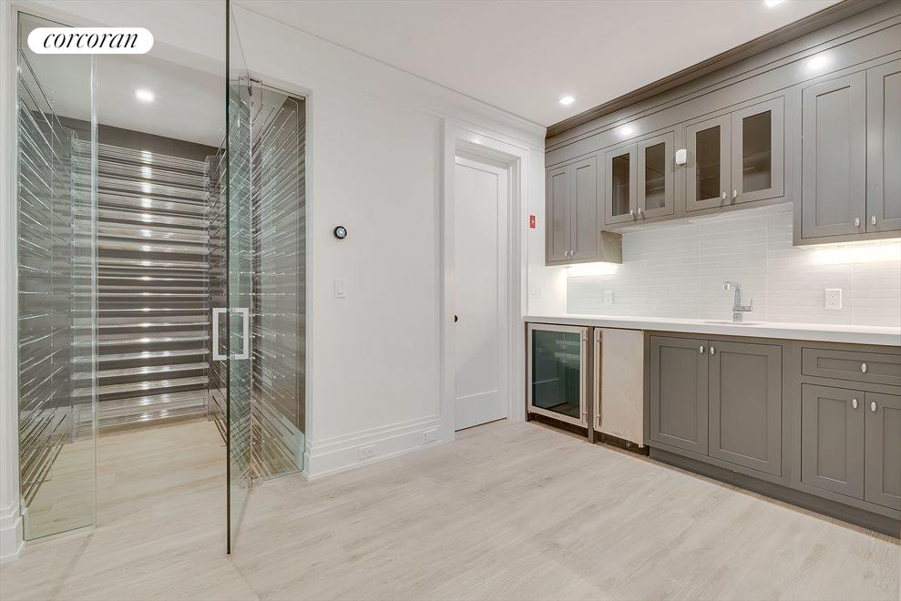Wet bar and wine room