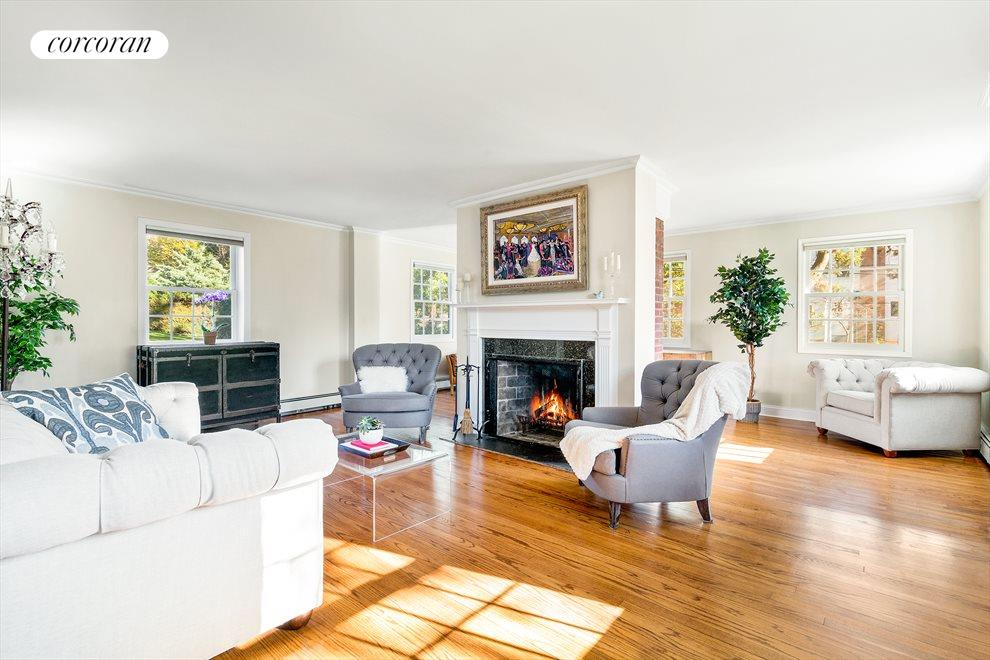 Spacious Living Room w/ Wood-burning Fireplace
