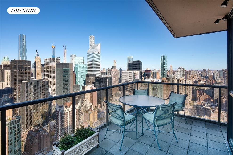New York City Real Estate | View 100 United Nations Plaza, #50B | Amazing north and west views from wrap terrace