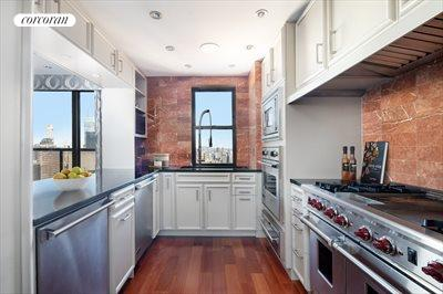 New York City Real Estate | View 100 United Nations Plaza, #50B | Windowed pass-through chef's kitchen