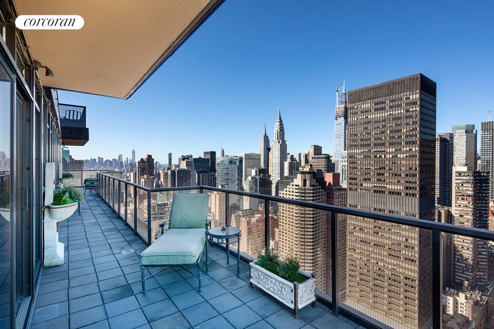 New York City Real Estate | View 100 United Nations Plaza, #50B | Sprawling wrap-around terrace on both floors