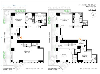 New York City Real Estate | View 100 United Nations Plaza, #50B | Floorplan