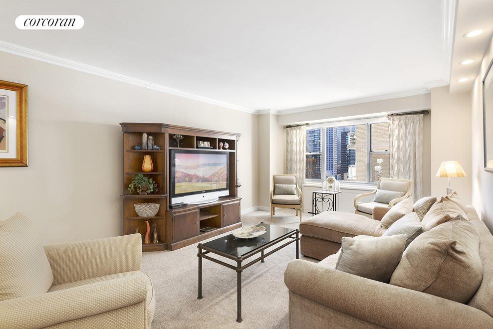 Spacious Living Room with Skyline Views