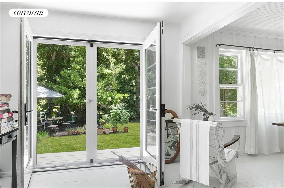 From dining area French doors to outdoors