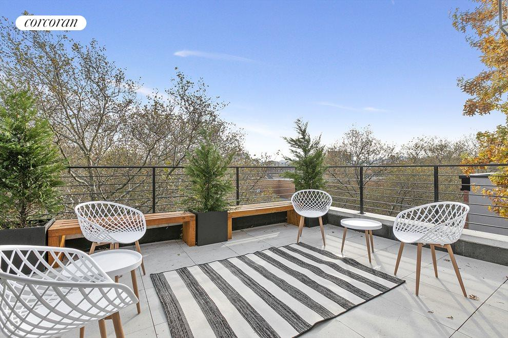 Common roof deck with views of Brooklyn and beyond
