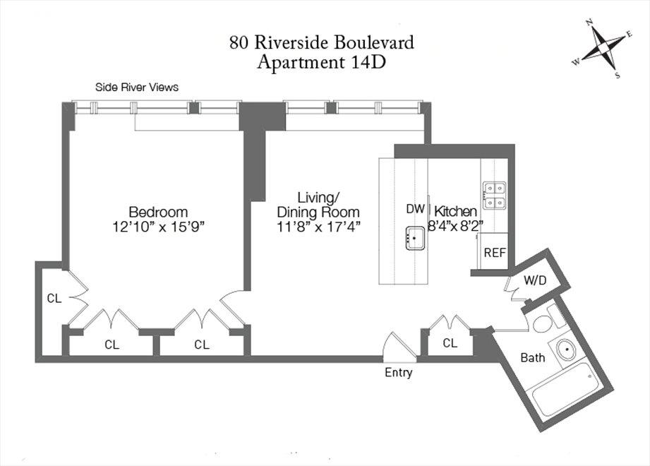 New York City Real Estate | View 80 Riverside Blvd, #14D | Floorplan