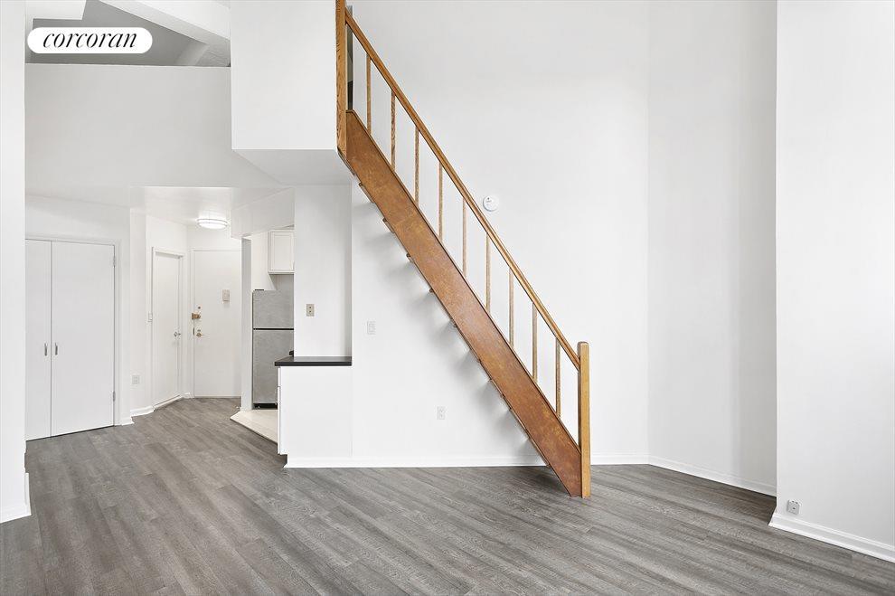 Stairs leading to sleep loft