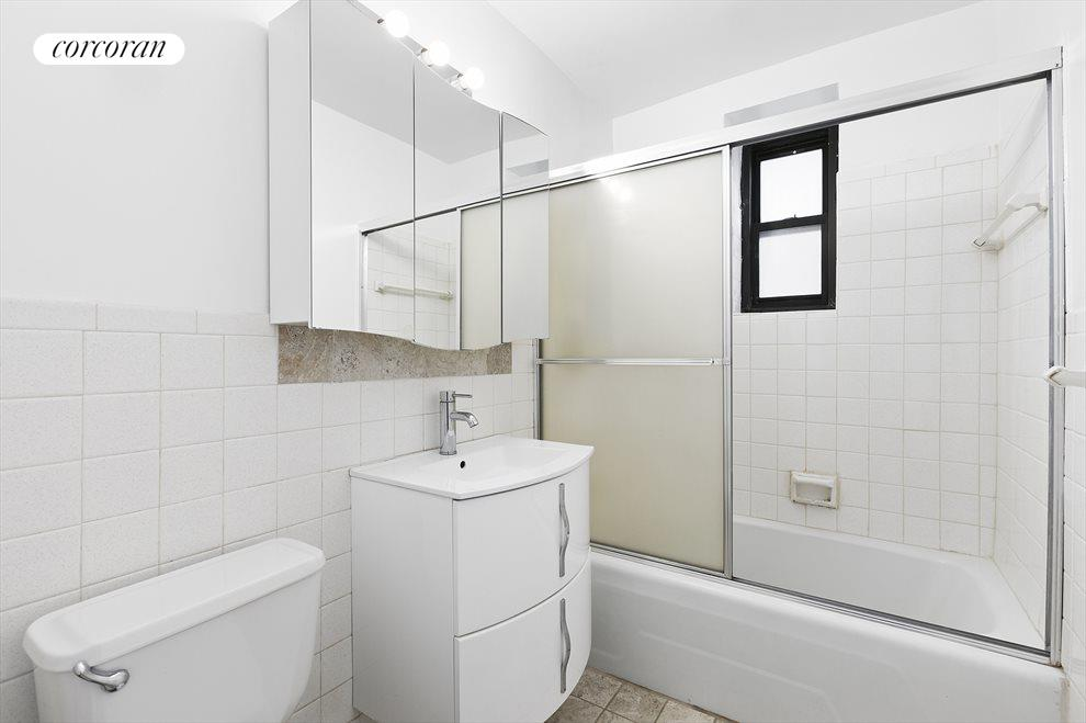 Large bathroom with frosted window!