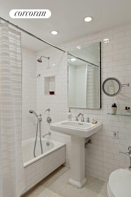 New York City Real Estate | View 470 West 24th Street, #16J | Pedestal sink and mosaic tile floor