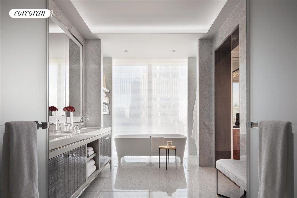 Windowed Master Bathroom with double vanity
