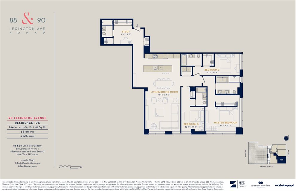 New York City Real Estate | View 90 Lexington Avenue, #10C | Floorplan