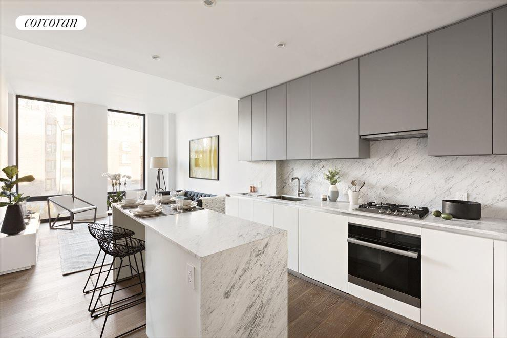 New York City Real Estate | View 287 EAST HOUSTON ST, #4B | Open kitchen with fabulous dining bar