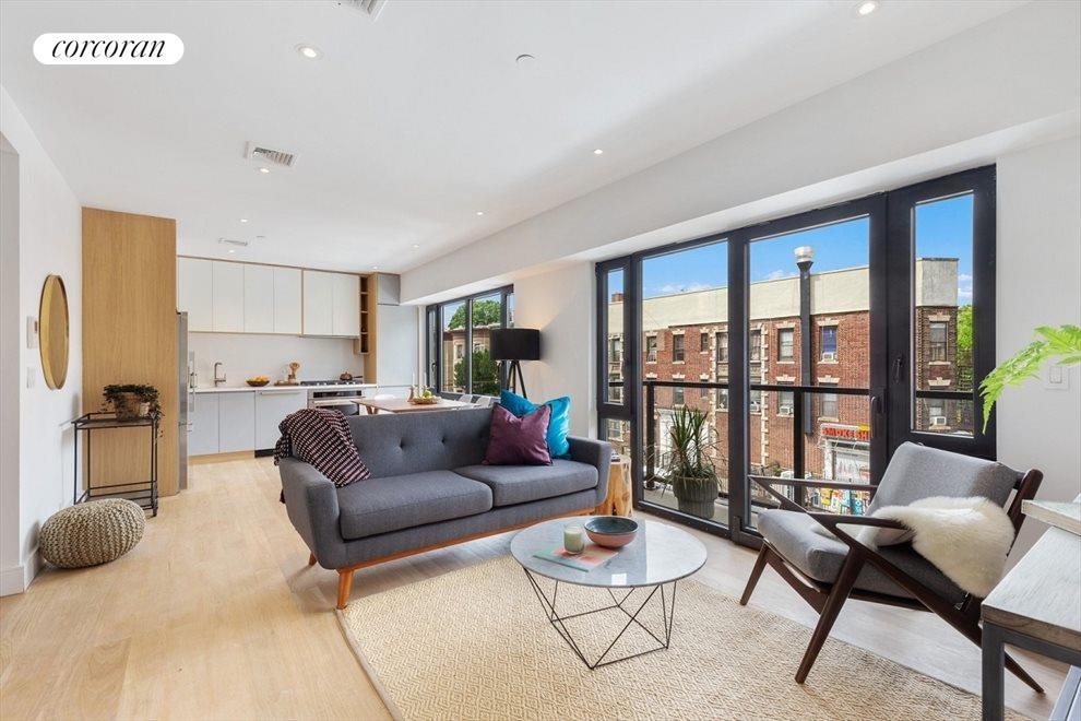 Sun-flooded, open plan living room