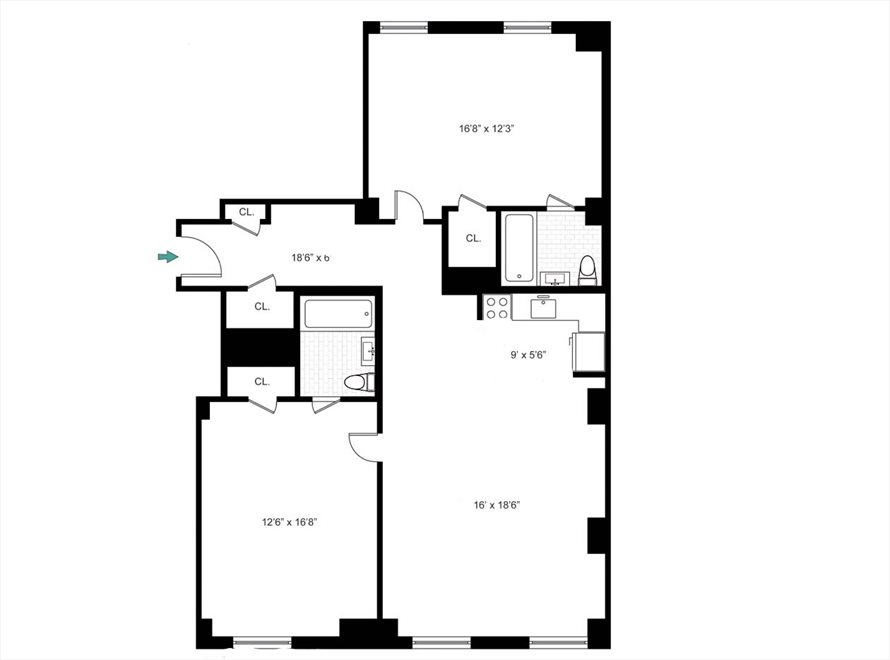 New York City Real Estate | View 1 Fifth Avenue, #3J | Floorplan