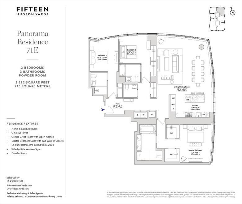 New York City Real Estate | View 15 Hudson Yards, #71E | Floorplan