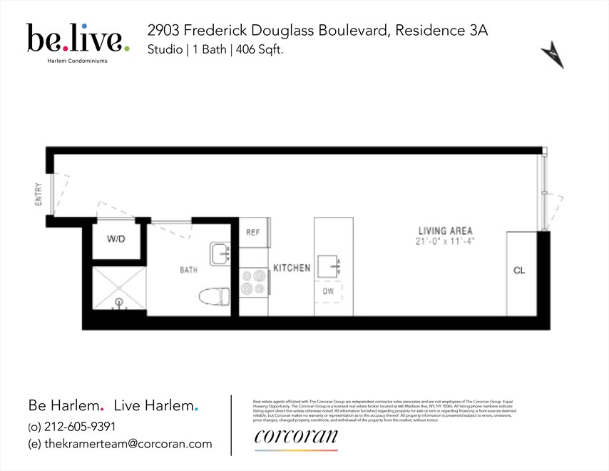 New York City Real Estate | View 2903 FREDERICK DOUGLASS B, #3A | Floorplan