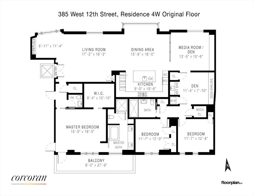 New York City Real Estate | View 385 West 12th Street, #4WEST | Floorplan 1