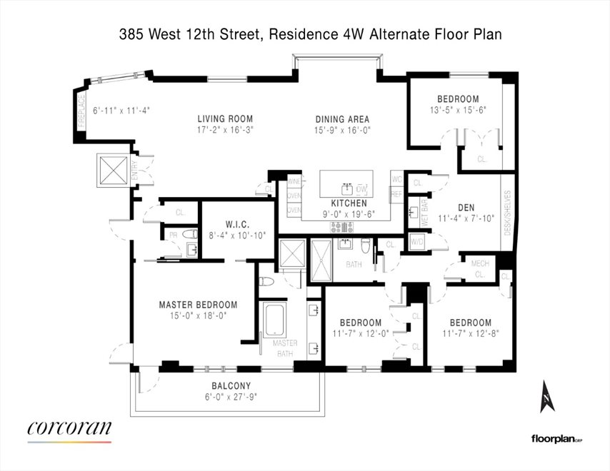 New York City Real Estate | View 385 West 12th Street, #4WEST | Floorplan 2
