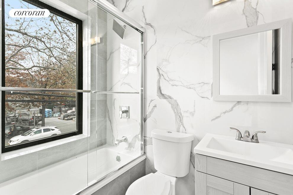 Windowed, cheery bathrooms!