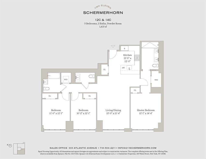 New York City Real Estate | View 211 Schermerhorn Street, #14C | Floorplan