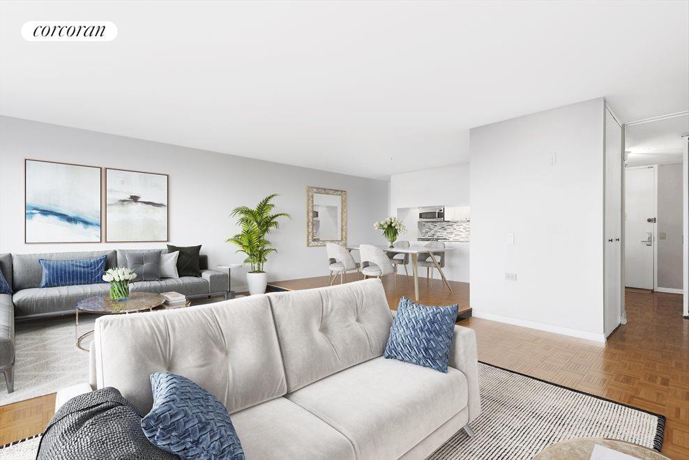 Living Room and Dining Area (raised platform)