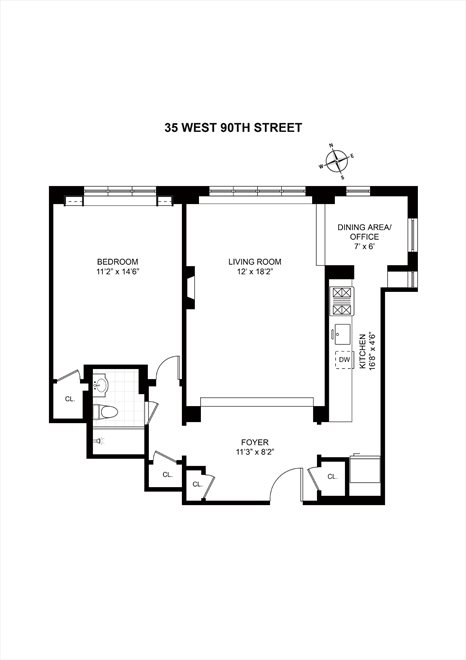 New York City Real Estate | View 35 West 90th Street, #4G | Floorplan