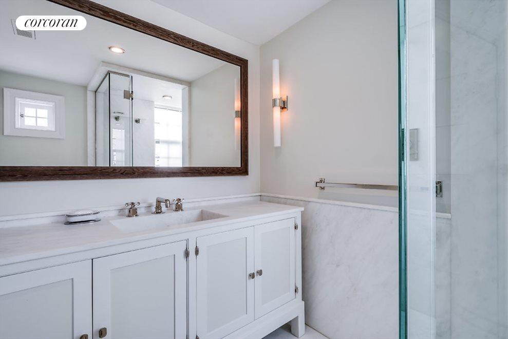 Master bath with custom vanity