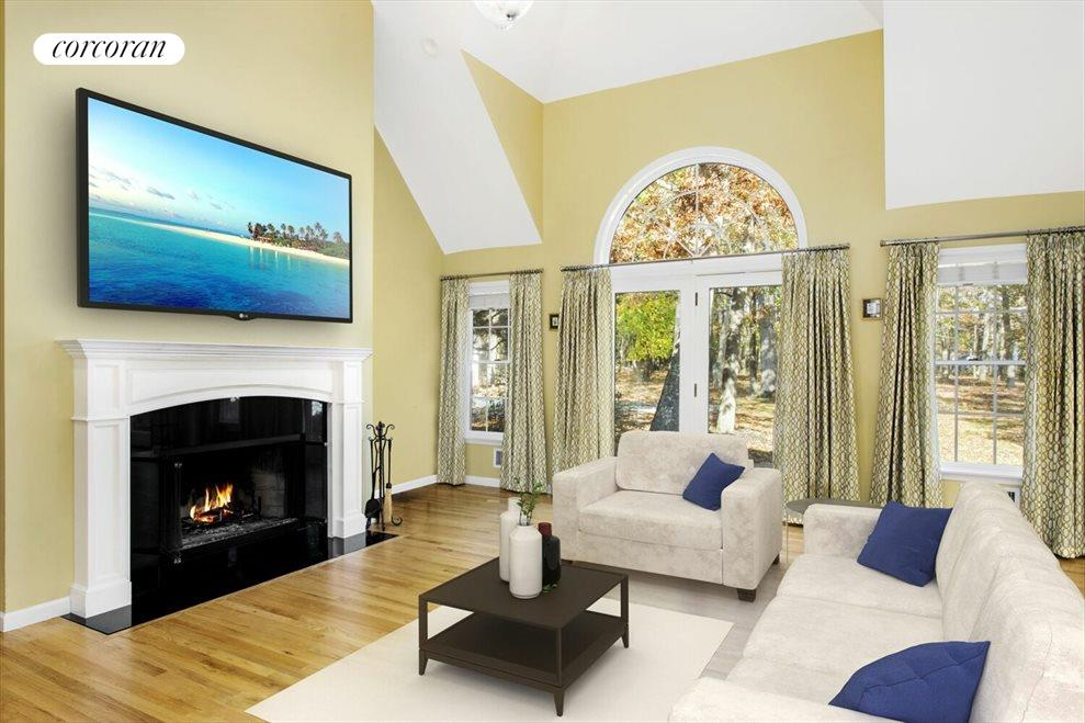 Virtually Staged Great Room with Sliders