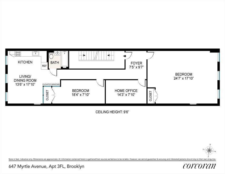 New York City Real Estate | View 647 Myrtle Avenue, #3 FL | Floorplan