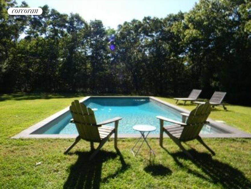 Very pretty and private back yard with heated pool