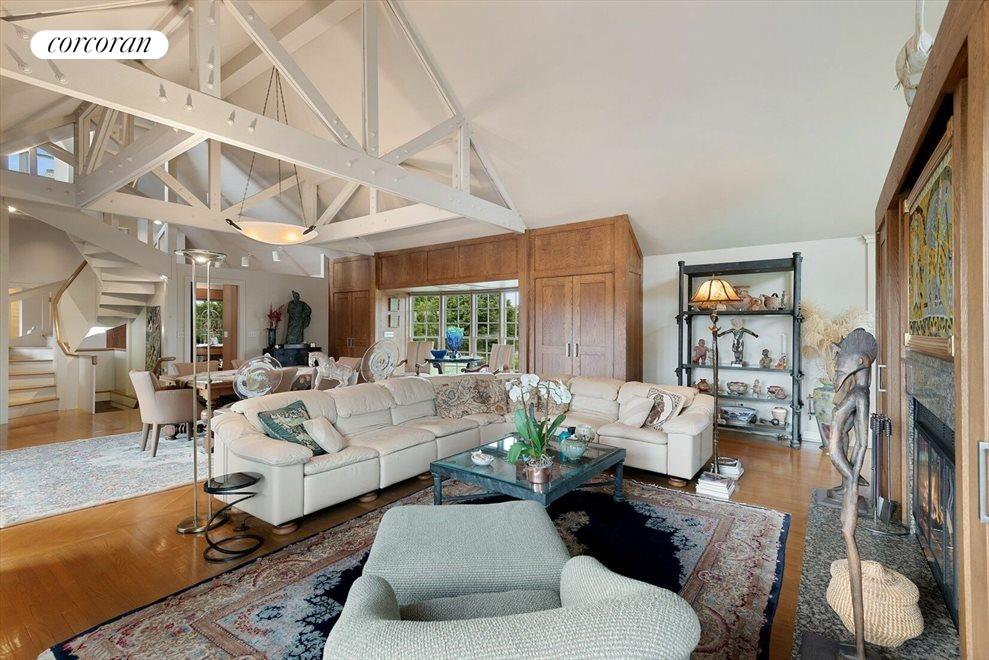 Great Room with Beamed & Vaulted Ceiling