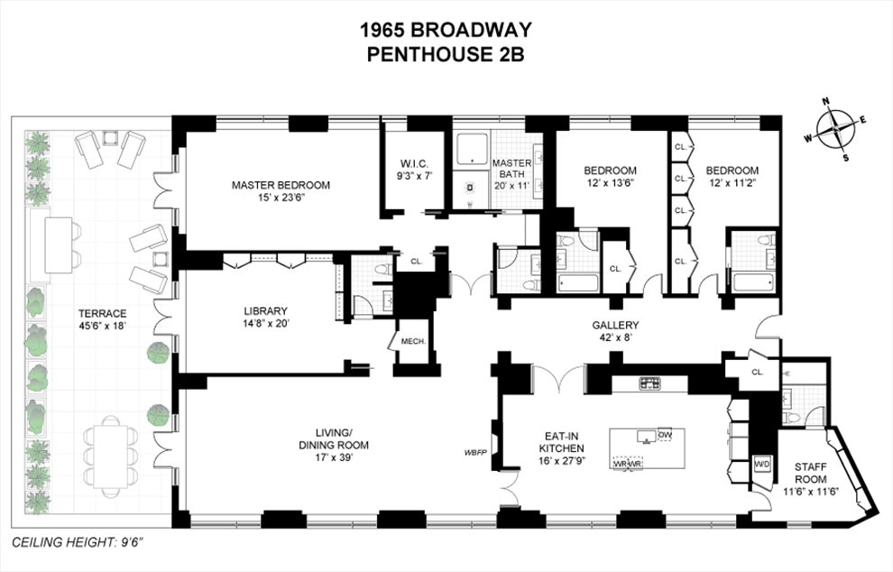 New York City Real Estate | View 1965 Broadway, #PH2B | Floorplan