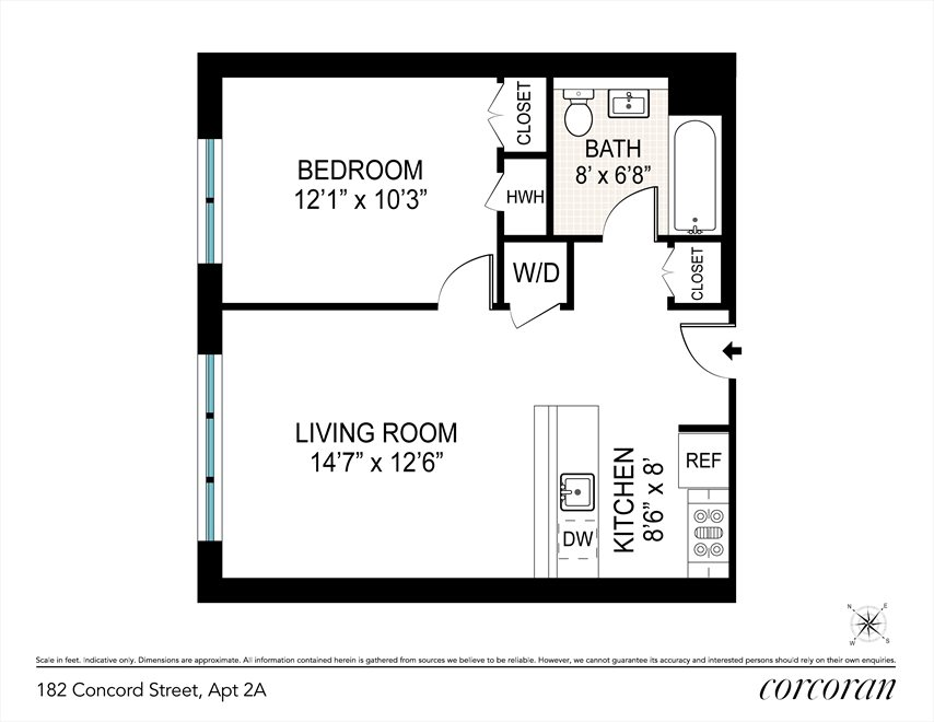 New York City Real Estate | View 182 Concord Street, #2A | Floorplan