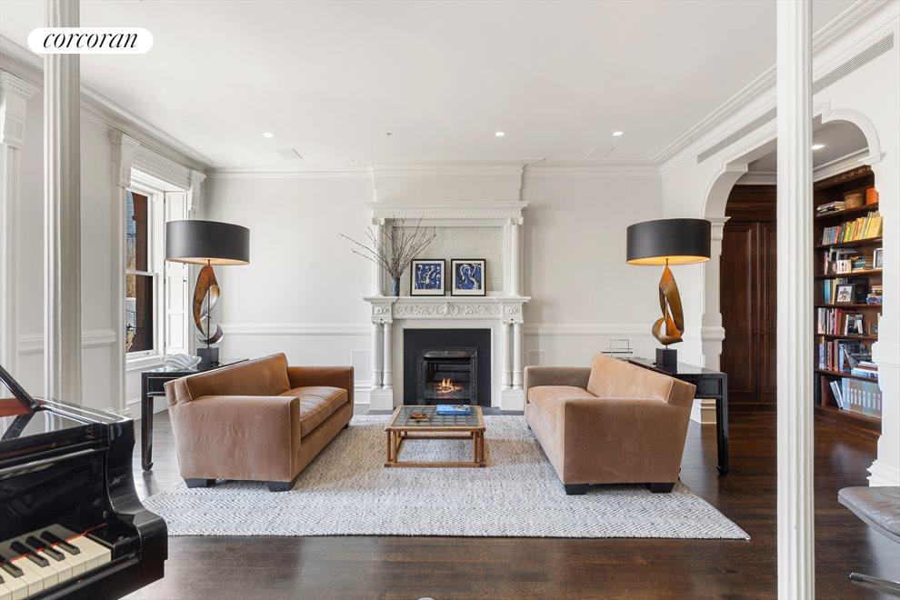 Formal living room with fire place