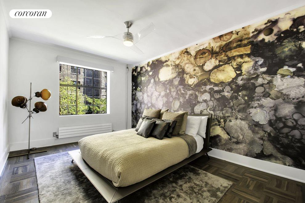 New York City Real Estate | View 116 PINEHURST AVE, #R41 | Eastern facing second bedroom w/ custom wallpaper