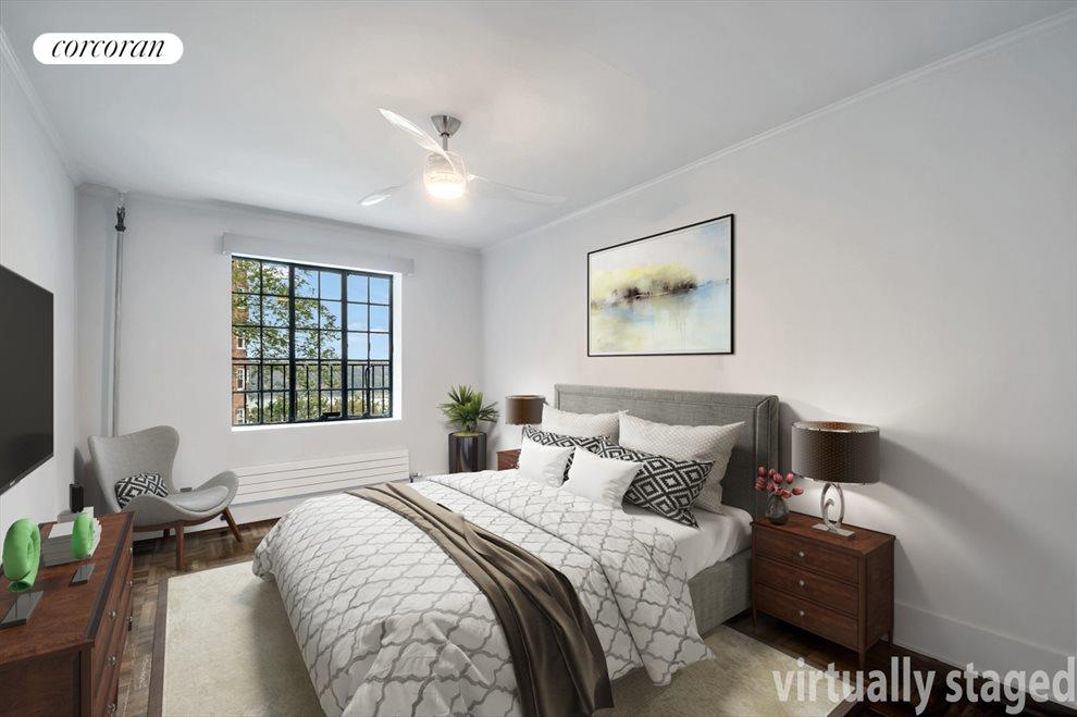 New York City Real Estate | View 116 PINEHURST AVE, #R41 | Western facing master bedroom with walk-in closet