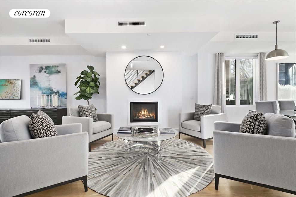 Large and lovely living room with fireplace!