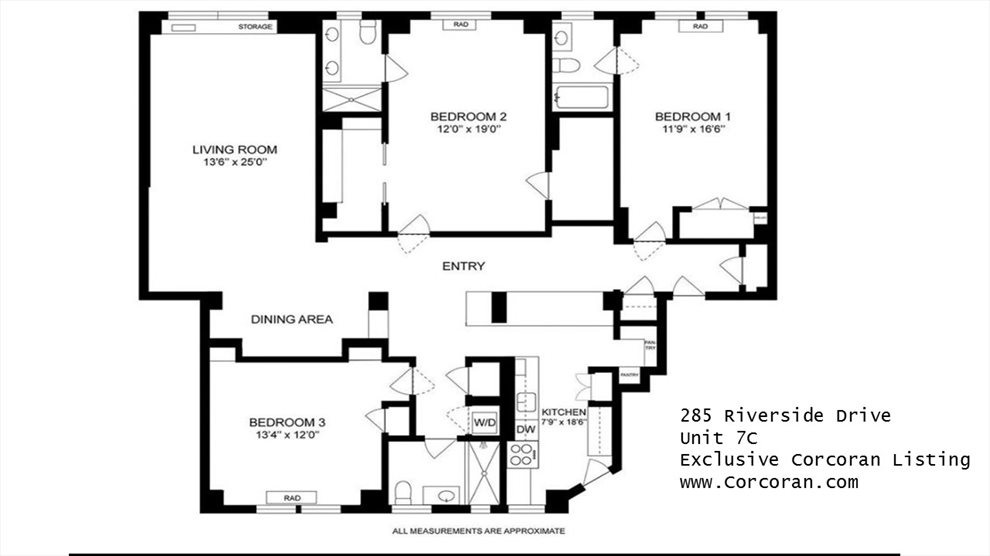 New York City Real Estate | View 285 Riverside Drive, #7C | Floorplan