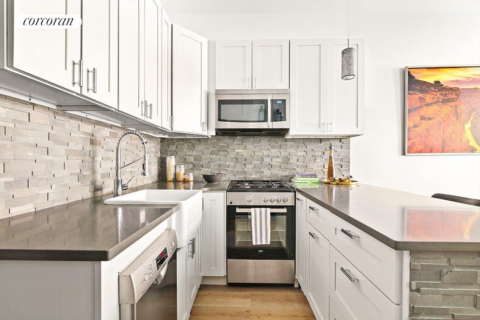 Brand new open kitchen with breakfast bar
