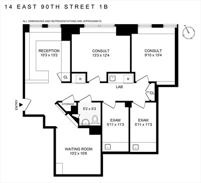 New York City Real Estate | View 14 East 90th Street, #1B | Floorplan
